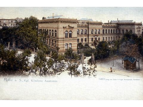Das Anatomische Institut, erbaut von 1878 bis 1880. Stimmungsbild um die Jahrhundertwende.